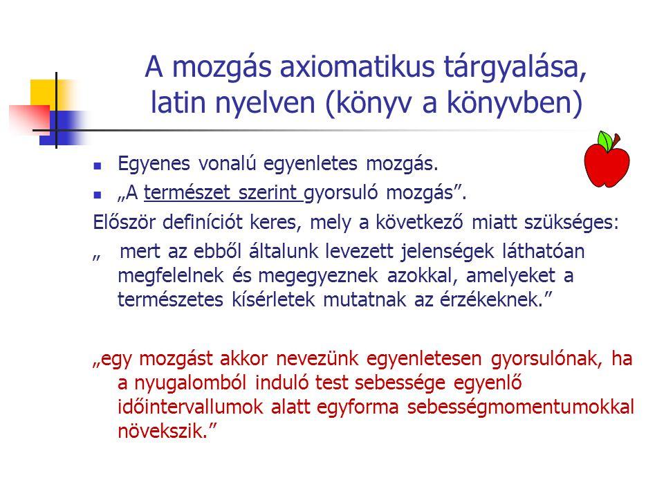 """A mozgás axiomatikus tárgyalása, latin nyelven (könyv a könyvben) Egyenes vonalú egyenletes mozgás. """"A természet szerint gyorsuló mozgás"""". Először def"""