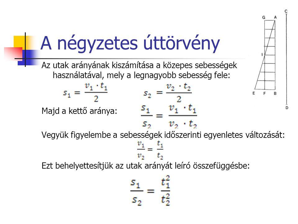 A négyzetes úttörvény Az utak arányának kiszámítása a közepes sebességek használatával, mely a legnagyobb sebesség fele: Majd a kettő aránya: Vegyük f