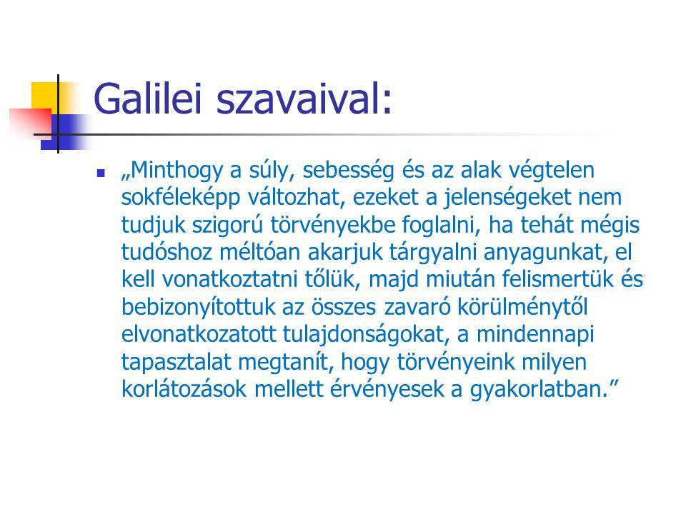 """Galilei szavaival: """"Minthogy a súly, sebesség és az alak végtelen sokféleképp változhat, ezeket a jelenségeket nem tudjuk szigorú törvényekbe foglalni"""