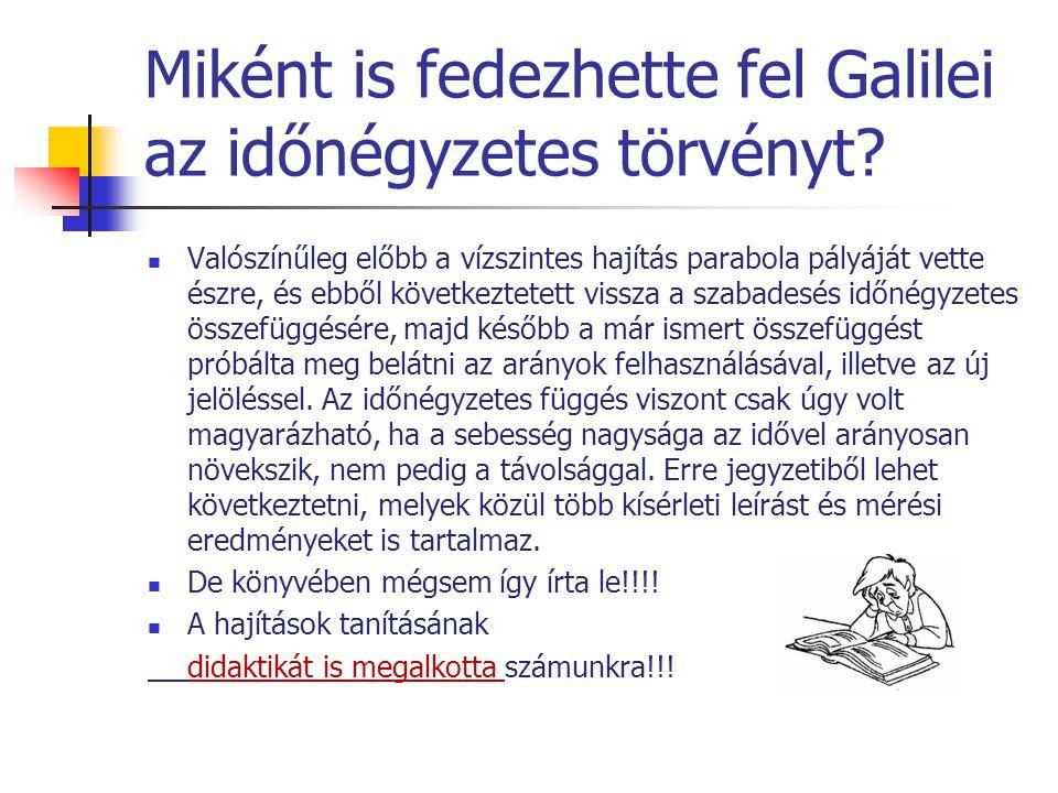 Miként is fedezhette fel Galilei az időnégyzetes törvényt? Valószínűleg előbb a vízszintes hajítás parabola pályáját vette észre, és ebből következtet