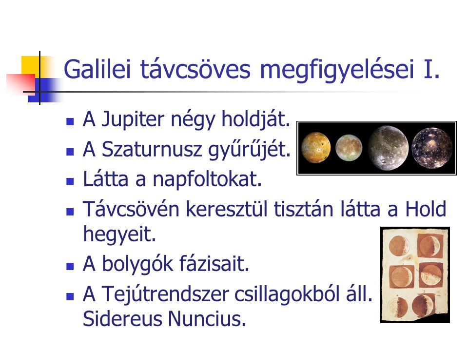 Galilei távcsöves megfigyelései I. A Jupiter négy holdját. A Szaturnusz gyűrűjét. Látta a napfoltokat. Távcsövén keresztül tisztán látta a Hold hegyei