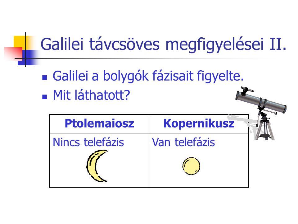 Galilei távcsöves megfigyelései II. Galilei a bolygók fázisait figyelte. Mit láthatott? PtolemaioszKopernikusz Nincs telefázisVan telefázis