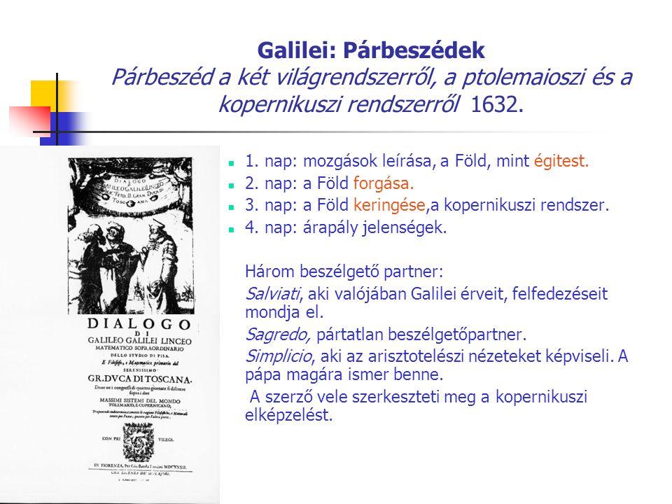 Galilei: Párbeszédek Párbeszéd a két világrendszerről, a ptolemaioszi és a kopernikuszi rendszerről 1632. 1. nap: mozgások leírása, a Föld, mint égite
