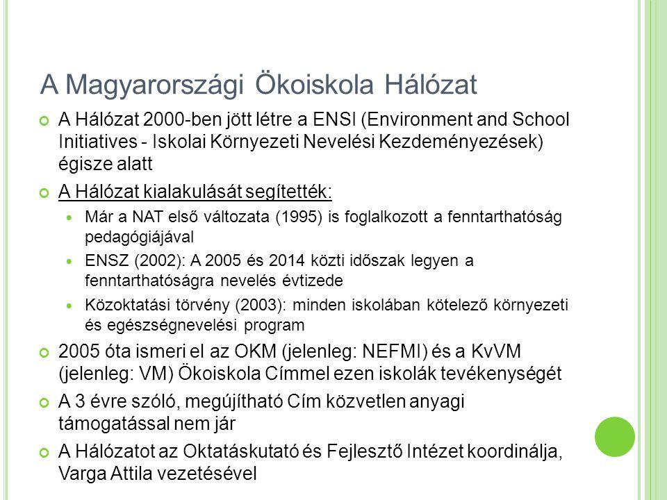 A Magyarországi Ökoiskola Hálózat A Hálózat 2000-ben jött létre a ENSI (Environment and School Initiatives - Iskolai Környezeti Nevelési Kezdeményezések) égisze alatt A Hálózat kialakulását segítették: Már a NAT első változata (1995) is foglalkozott a fenntarthatóság pedagógiájával ENSZ (2002): A 2005 és 2014 közti időszak legyen a fenntarthatóságra nevelés évtizede Közoktatási törvény (2003): minden iskolában kötelező környezeti és egészségnevelési program 2005 óta ismeri el az OKM (jelenleg: NEFMI) és a KvVM (jelenleg: VM) Ökoiskola Címmel ezen iskolák tevékenységét A 3 évre szóló, megújítható Cím közvetlen anyagi támogatással nem jár A Hálózatot az Oktatáskutató és Fejlesztő Intézet koordinálja, Varga Attila vezetésével