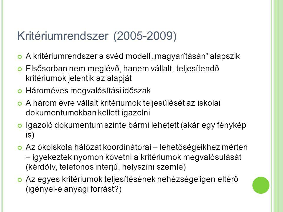 """Kritériumrendszer (2005-2009) A kritériumrendszer a svéd modell """"magyarításán"""" alapszik Elsősorban nem meglévő, hanem vállalt, teljesítendő kritériumo"""