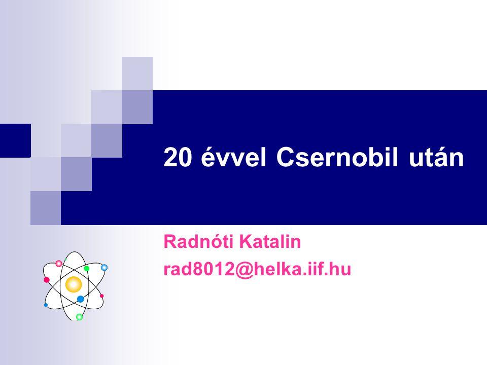 20 évvel Csernobil után Radnóti Katalin rad8012@helka.iif.hu