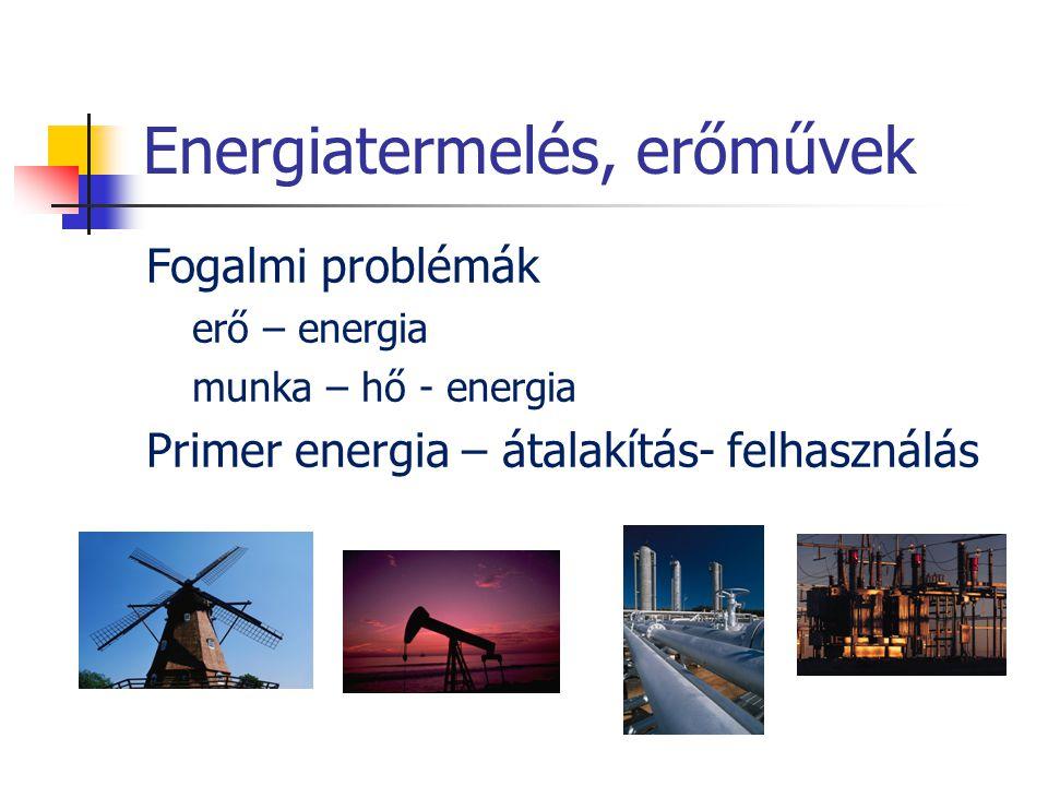 Energiatermelés, erőművek Fogalmi problémák erő – energia munka – hő - energia Primer energia – átalakítás- felhasználás