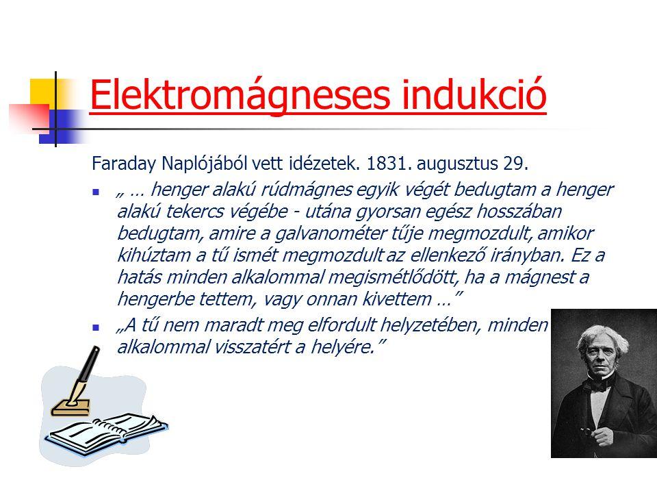 """Elektromágneses indukció Faraday Naplójából vett idézetek. 1831. augusztus 29. """" … henger alakú rúdmágnes egyik végét bedugtam a henger alakú tekercs"""