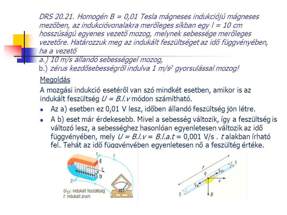 DRS 20.21. Homogén B = 0,01 Tesla mágneses indukciójú mágneses mezőben, az indukcióvonalakra merőleges síkban egy l = 10 cm hosszúságú egyenes vezető