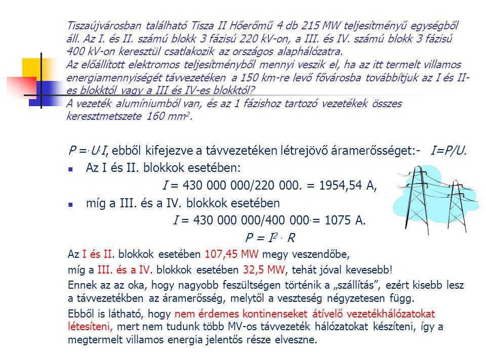 Tiszaújvárosban található Tisza II Hőerőmű 4 db 215 MW teljesítményű egységből áll. Az I. és II. számú blokk 3 fázisú 220 kV-on, a III. és IV. számú b