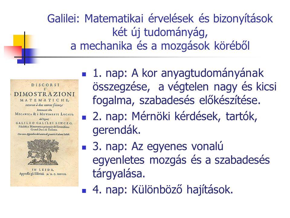Galilei: Matematikai érvelések és bizonyítások két új tudományág, a mechanika és a mozgások köréből 1. nap: A kor anyagtudományának összegzése, a végt
