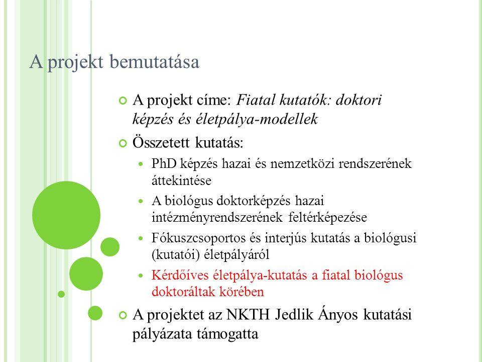A projekt bemutatása A projekt címe: Fiatal kutatók: doktori képzés és életpálya-modellek Összetett kutatás: PhD képzés hazai és nemzetközi rendszerén
