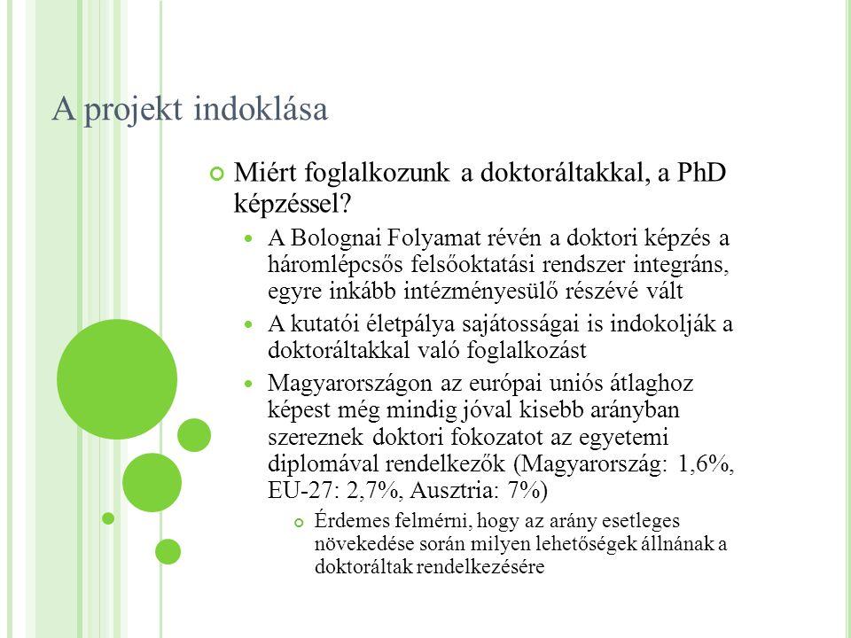 A projekt indoklása Miért foglalkozunk a doktoráltakkal, a PhD képzéssel? A Bolognai Folyamat révén a doktori képzés a háromlépcsős felsőoktatási rend