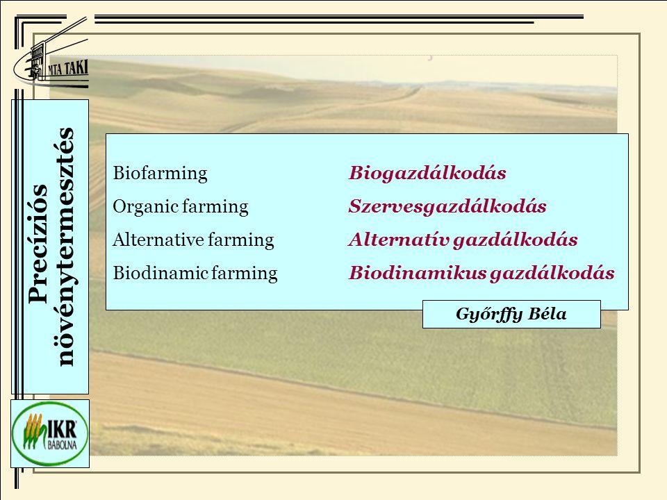 Precíziós növénytermesztés BiofarmingBiogazdálkodás Organic farmingSzervesgazdálkodás Alternative farmingAlternatív gazdálkodás Biodinamic farmingBiodinamikus gazdálkodás Győrffy Béla