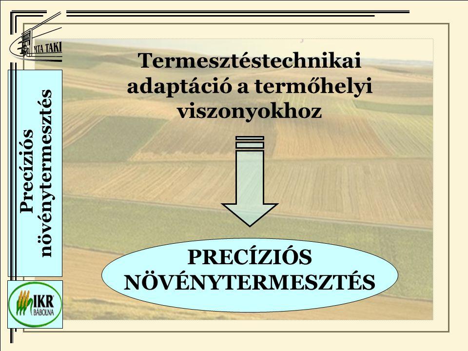 Precíziós növénytermesztés Termesztéstechnikai adaptáció a termőhelyi viszonyokhoz PRECÍZIÓS NÖVÉNYTERMESZTÉS