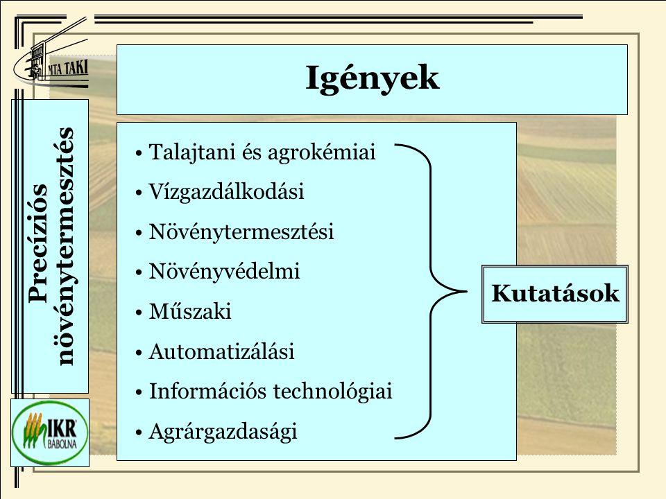 Precíziós növénytermesztés Igények Talajtani és agrokémiai Vízgazdálkodási Növénytermesztési Növényvédelmi Műszaki Automatizálási Információs technológiai Agrárgazdasági Kutatások