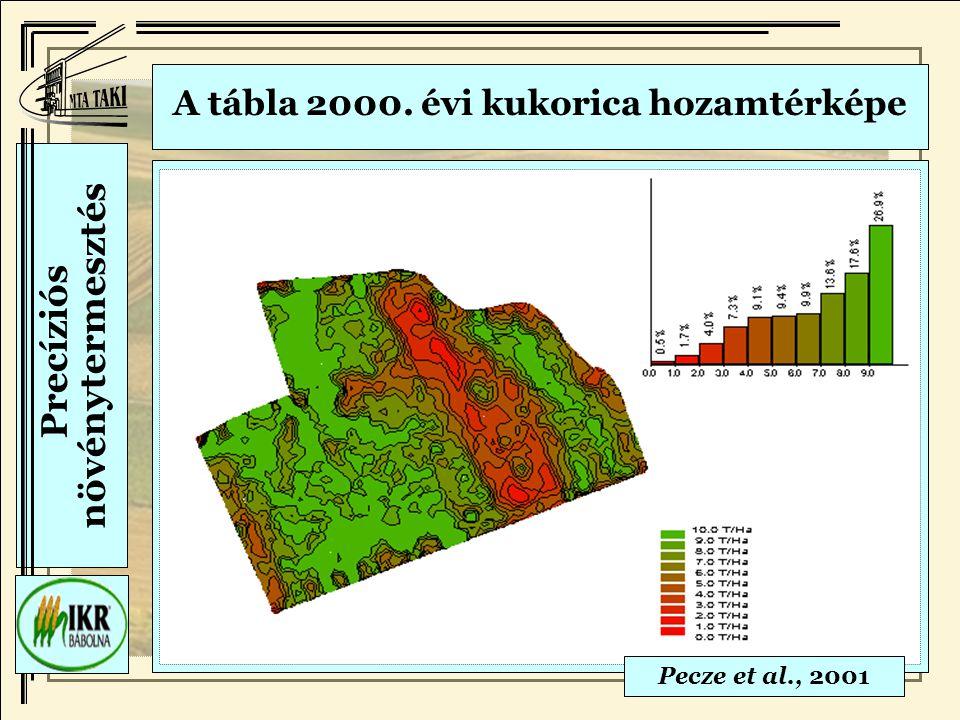 A tábla 2000. évi kukorica hozamtérképe Pecze et al., 2001