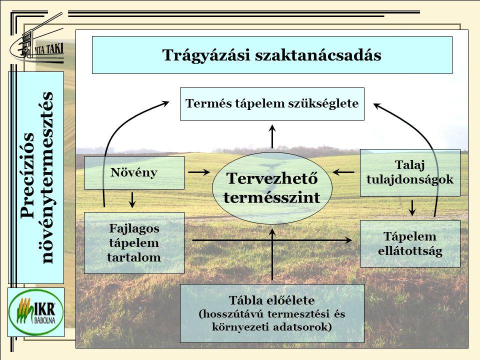 Precíziós növénytermesztés Trágyázási szaktanácsadás Termés tápelem szükséglete Fajlagos tápelem tartalom Tábla előélete (hosszútávú termesztési és környezeti adatsorok) Tápelem ellátottság Növény Talaj tulajdonságok Tervezhető termésszint