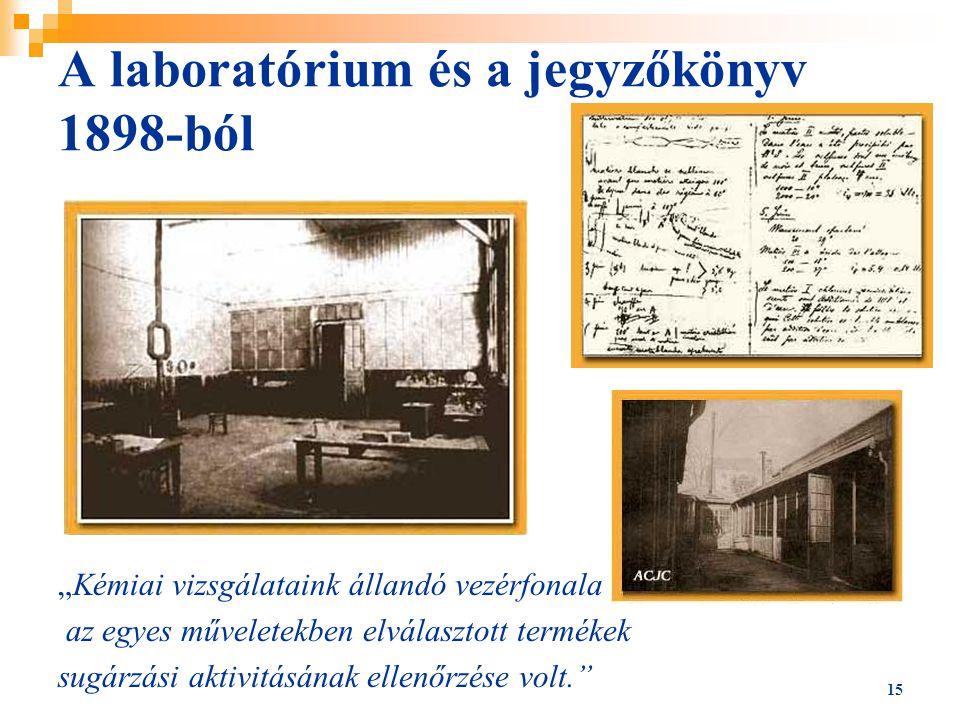 """A laboratórium és a jegyzőkönyv 1898-ból """"Kémiai vizsgálataink állandó vezérfonala az egyes műveletekben elválasztott termékek sugárzási aktivitásának"""