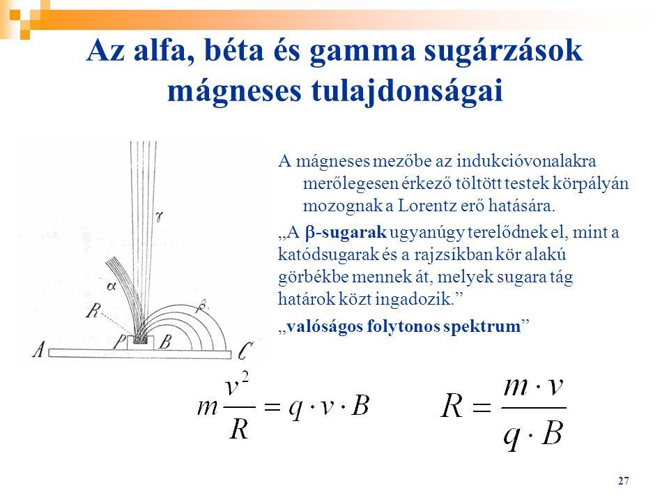 27 Az alfa, béta és gamma sugárzások mágneses tulajdonságai A mágneses mezőbe az indukcióvonalakra merőlegesen érkező töltött testek körpályán mozogna