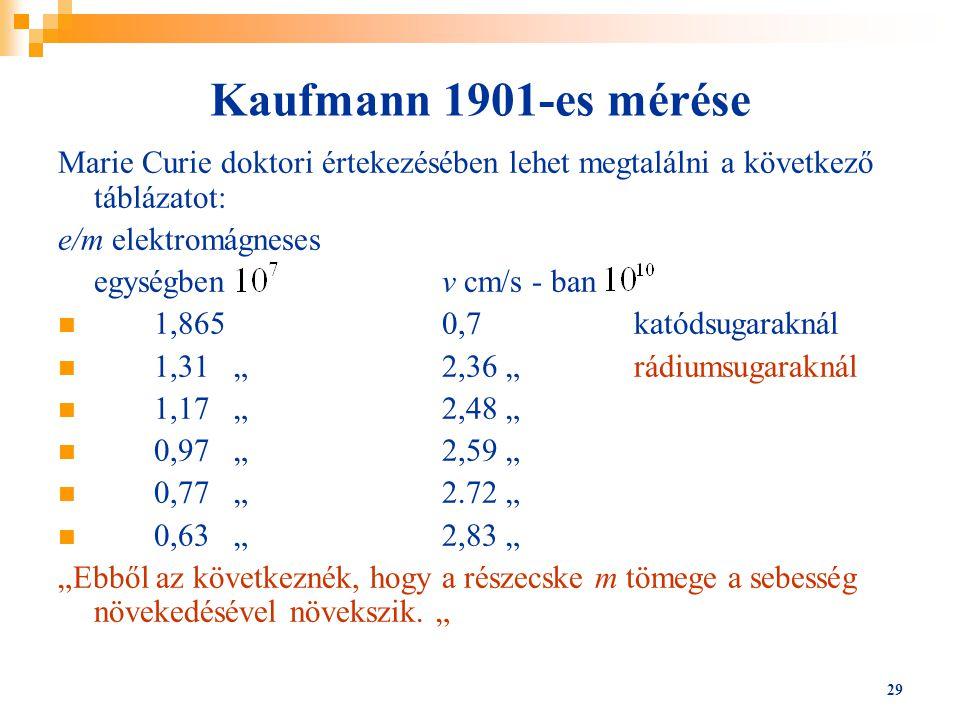 29 Kaufmann 1901-es mérése Marie Curie doktori értekezésében lehet megtalálni a következő táblázatot: e/m elektromágneses egységbenv cm/s - ban 1,8650