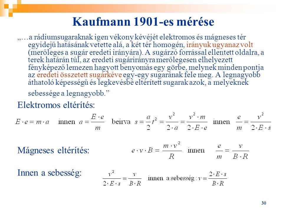 """30 Kaufmann 1901-es mérése """"…a rádiumsugaraknak igen vékony kévéjét elektromos és mágneses tér egyidejű hatásának vetette alá, a két tér homogén, irán"""
