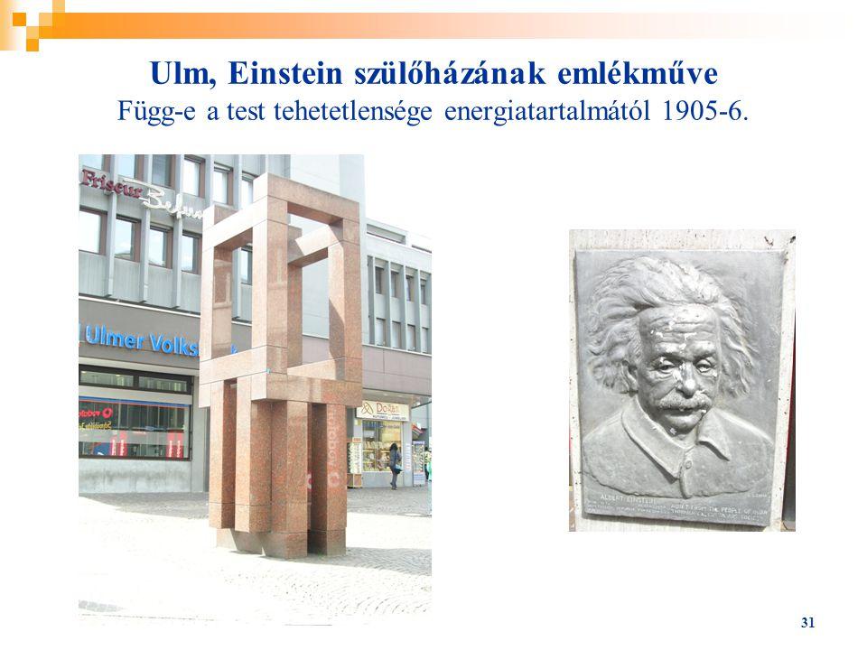 31 Ulm, Einstein szülőházának emlékműve Függ-e a test tehetetlensége energiatartalmától 1905-6.