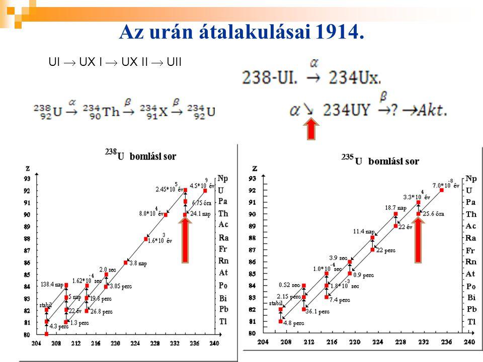 40 Az urán átalakulásai 1914. UI  UX I  UX II  UII