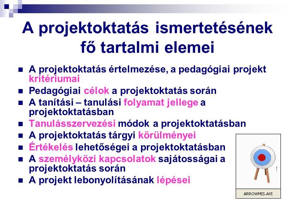 A projektoktatás ismertetésének fő tartalmi elemei A projektoktatás értelmezése, a pedagógiai projekt kritériumai Pedagógiai célok a projektoktatás so