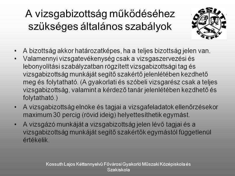 Kossuth Lajos Kéttannyelvű Fővárosi Gyakorló Műszaki Középiskola és Szakiskola A vizsgabizottság működéséhez szükséges általános szabályok A bizottság akkor határozatképes, ha a teljes bizottság jelen van.