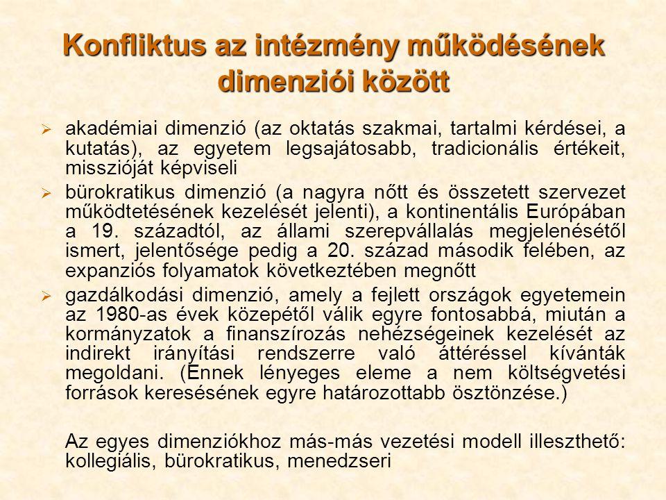 Konfliktus az intézmény működésének dimenziói között  akadémiai dimenzió (az oktatás szakmai, tartalmi kérdései, a kutatás), az egyetem legsajátosabb, tradicionális értékeit, misszióját képviseli  bürokratikus dimenzió (a nagyra nőtt és összetett szervezet működtetésének kezelését jelenti), a kontinentális Európában a 19.