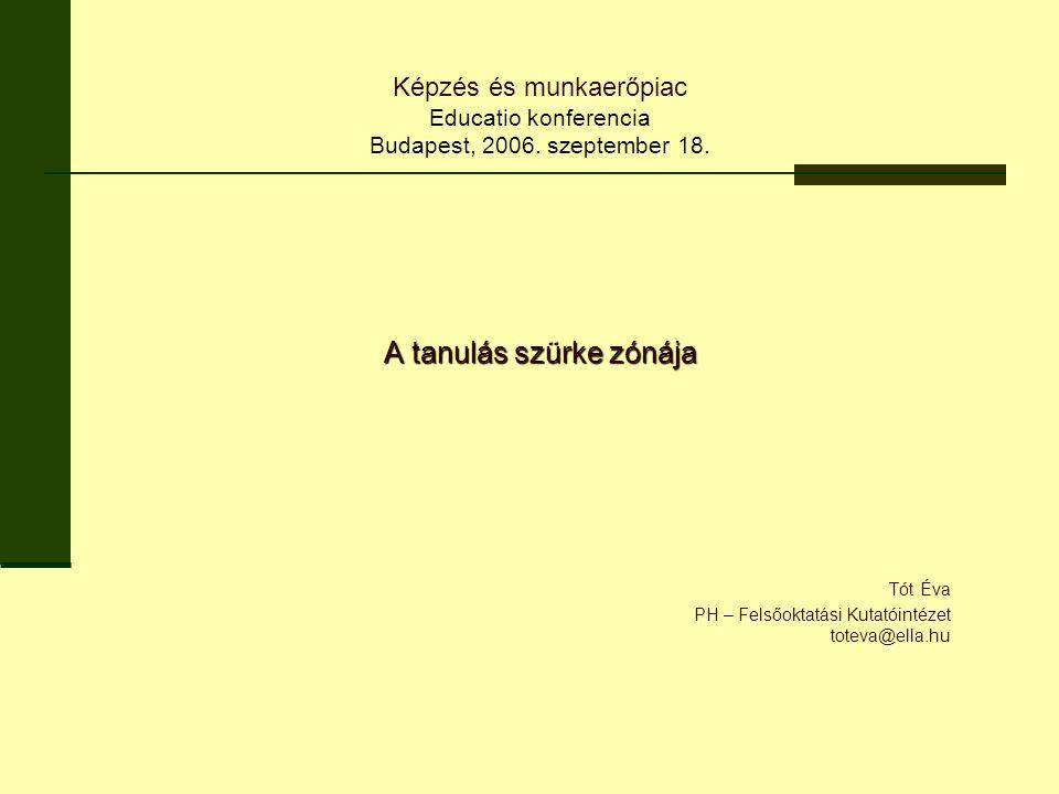 A tanulás szürke zónája Tót Éva PH – Felsőoktatási Kutatóintézet toteva@ella.hu Képzés és munkaerőpiac Educatio konferencia Budapest, 2006.