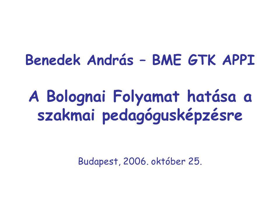Benedek András – BME GTK APPI A Bolognai Folyamat hatása a szakmai pedagógusképzésre Budapest, 2006.