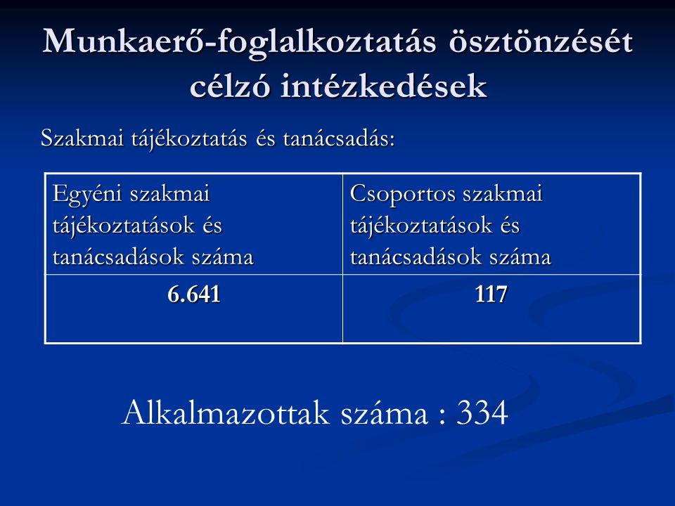 Munkaerő-foglalkoztatás ösztönzését célzó intézkedések Szakmai tájékoztatás és tanácsadás: Egyéni szakmai tájékoztatások és tanácsadások száma Csoportos szakmai tájékoztatások és tanácsadások száma 6.641117 Alkalmazottak száma : 334