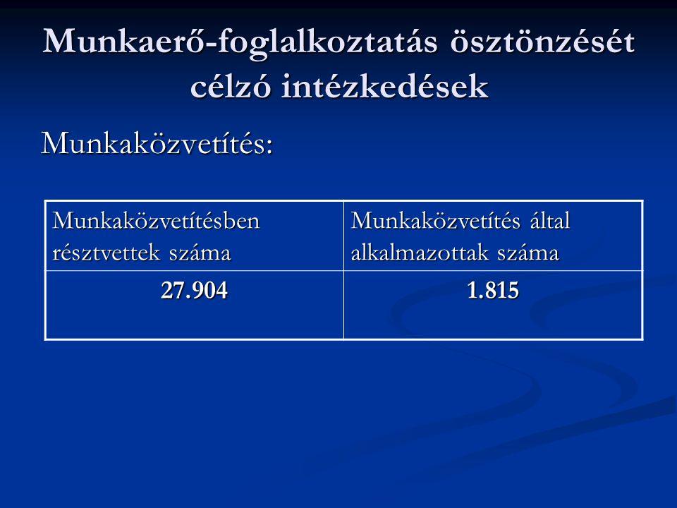 Munkaerő-foglalkoztatás ösztönzését célzó intézkedések Munkaközvetítés: Munkaközvetítésben résztvettek száma Munkaközvetítés által alkalmazottak száma 27.9041.815