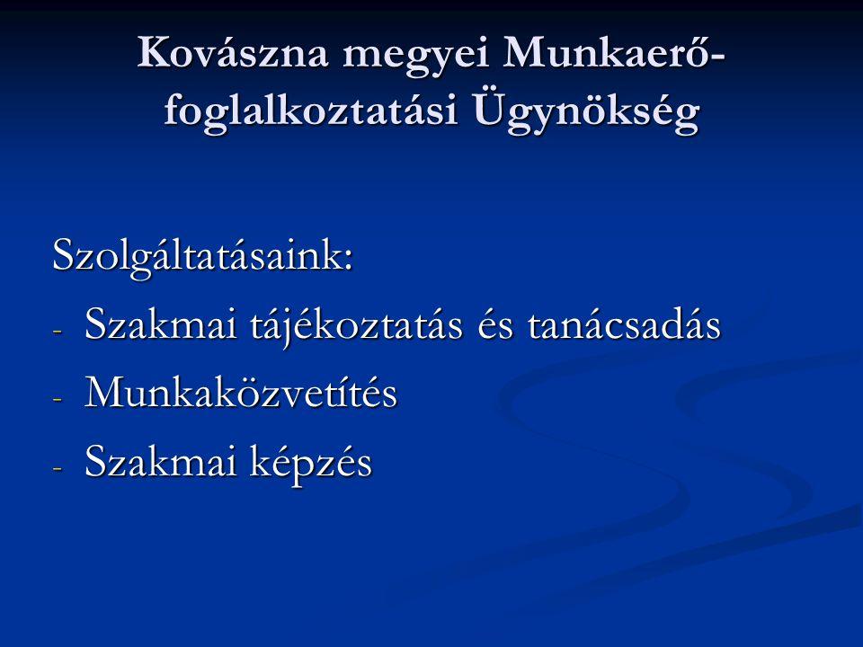 Kovászna megyei Munkaerő- foglalkoztatási Ügynökség Szolgáltatásaink: - Szakmai tájékoztatás és tanácsadás - Munkaközvetítés - Szakmai képzés