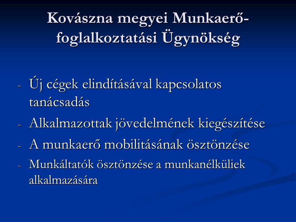 Kovászna megyei Munkaerő- foglalkoztatási Ügynökség - Új cégek elindításával kapcsolatos tanácsadás - Alkalmazottak jövedelmének kiegészítése - A munkaerő mobilitásának ösztönzése - Munkáltatók ösztönzése a munkanélküliek alkalmazására