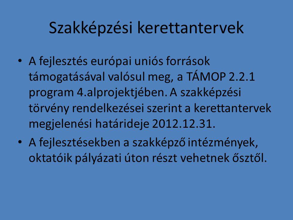 Szakképzési kerettantervek A fejlesztés európai uniós források támogatásával valósul meg, a TÁMOP 2.2.1 program 4.alprojektjében. A szakképzési törvén