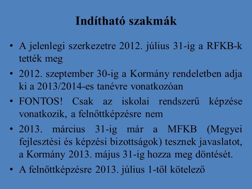 Indítható szakmák A jelenlegi szerkezetre 2012. július 31-ig a RFKB-k tették meg 2012. szeptember 30-ig a Kormány rendeletben adja ki a 2013/2014-es t