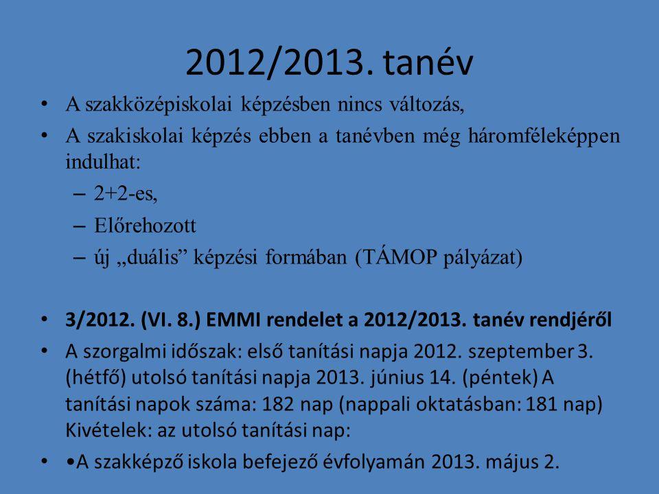 2012/2013. tanév A szakközépiskolai képzésben nincs változás, A szakiskolai képzés ebben a tanévben még háromféleképpen indulhat: – 2+2-es, – Előrehoz