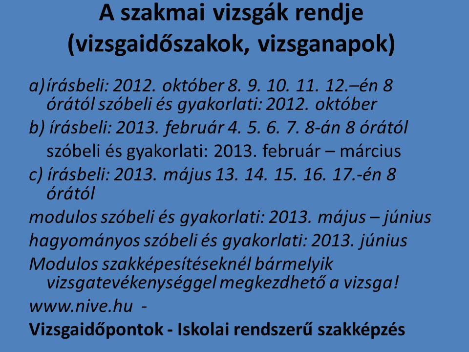 A szakmai vizsgák rendje (vizsgaidőszakok, vizsganapok) a)írásbeli: 2012. október 8. 9. 10. 11. 12.–én 8 órától szóbeli és gyakorlati: 2012. október b