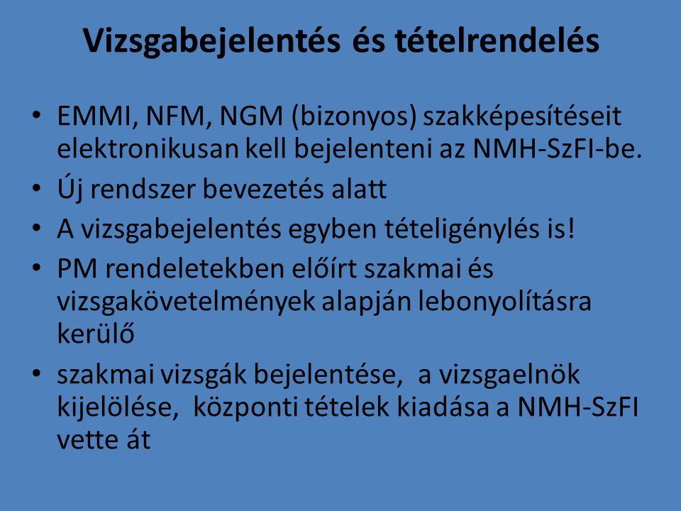 Vizsgabejelentés és tételrendelés EMMI, NFM, NGM (bizonyos) szakképesítéseit elektronikusan kell bejelenteni az NMH-SzFI-be. Új rendszer bevezetés ala