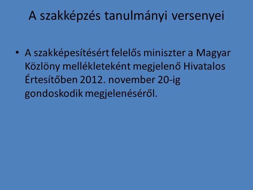 A szakképzés tanulmányi versenyei A szakképesítésért felelős miniszter a Magyar Közlöny mellékleteként megjelenő Hivatalos Értesítőben 2012.