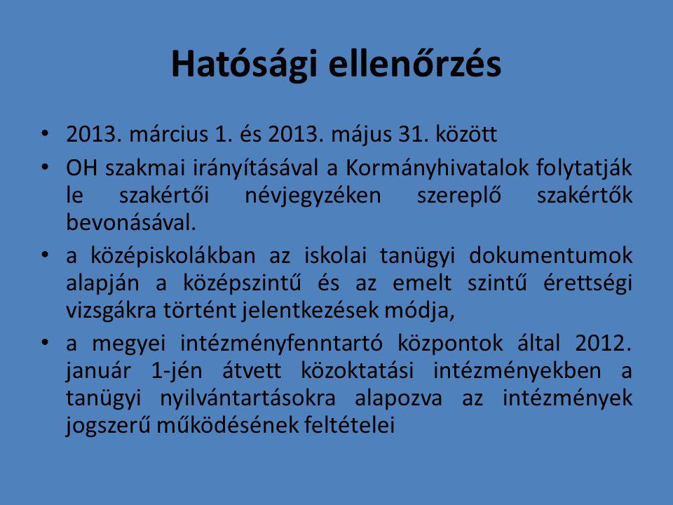 Hatósági ellenőrzés 2013.március 1. és 2013. május 31.
