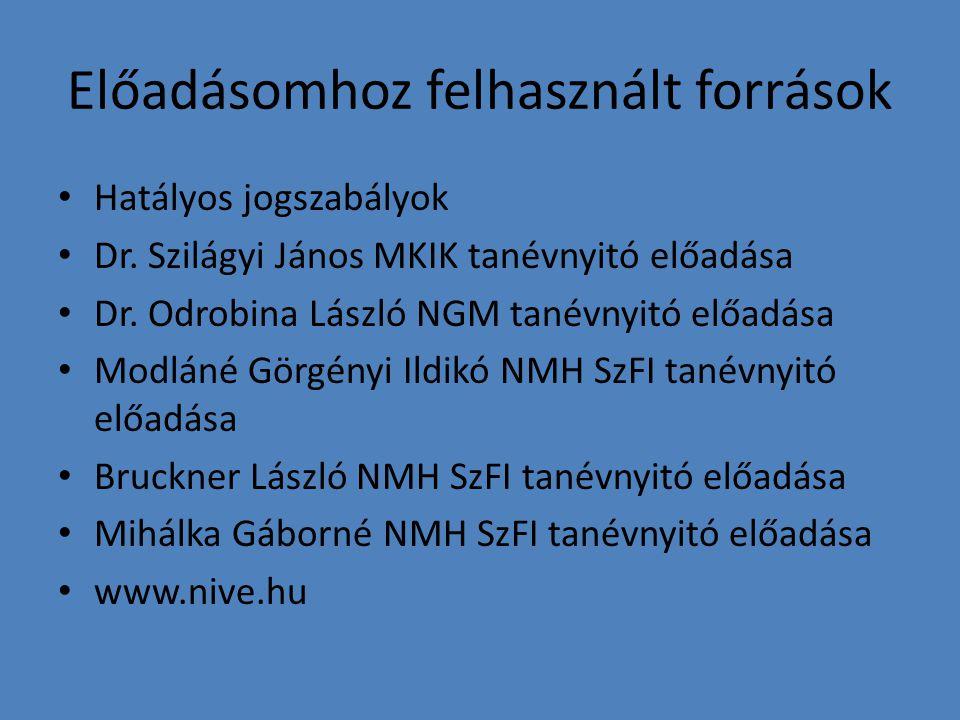 Előadásomhoz felhasznált források Hatályos jogszabályok Dr. Szilágyi János MKIK tanévnyitó előadása Dr. Odrobina László NGM tanévnyitó előadása Modlán