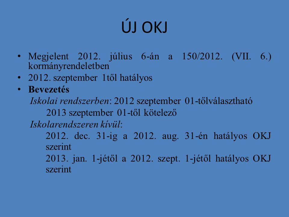 ÚJ OKJ Megjelent 2012. július 6-án a 150/2012. (VII. 6.) kormányrendeletben 2012. szeptember 1től hatályos Bevezetés Iskolai rendszerben: 2012 szeptem