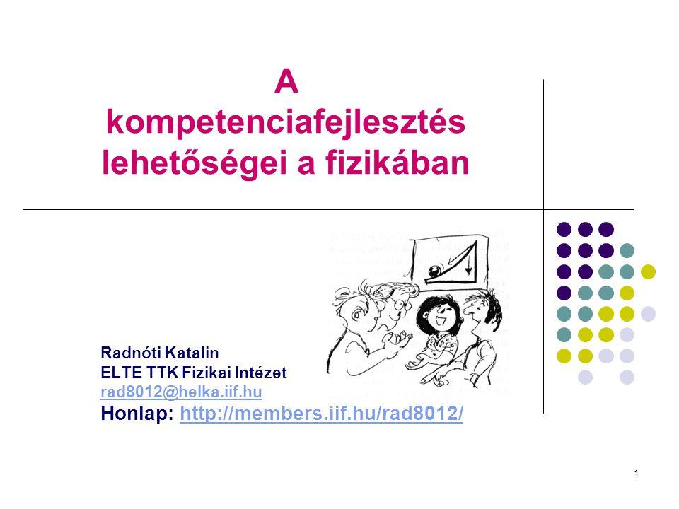 1 A kompetenciafejlesztés lehetőségei a fizikában Radnóti Katalin ELTE TTK Fizikai Intézet rad8012@helka.iif.hu Honlap: http://members.iif.hu/rad8012/