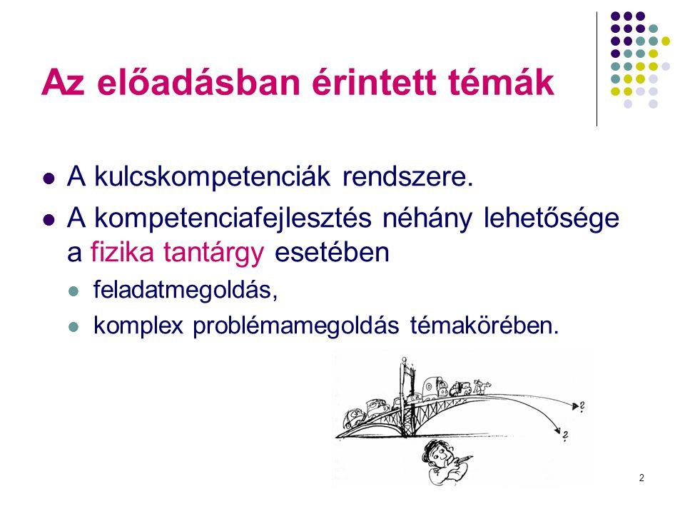 2 Az előadásban érintett témák A kulcskompetenciák rendszere. A kompetenciafejlesztés néhány lehetősége a fizika tantárgy esetében feladatmegoldás, ko