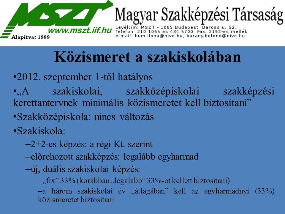 """Közismeret a szakiskolában 2012. szeptember 1-től hatályos """"A szakiskolai, szakközépiskolai szakképzési kerettantervnek minimális közismeretet kell bi"""