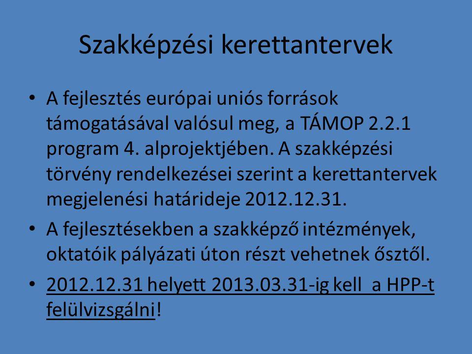 Szakképzési kerettantervek A fejlesztés európai uniós források támogatásával valósul meg, a TÁMOP 2.2.1 program 4. alprojektjében. A szakképzési törvé
